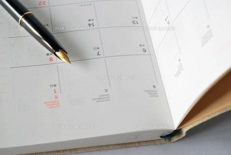 手帳と万年筆の写真素材 [FYI00271788]