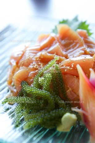 まぐろのお刺身と海ぶどうの写真素材 [FYI00273006]