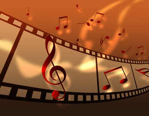 フィルムと音楽の写真素材 [FYI00273667]