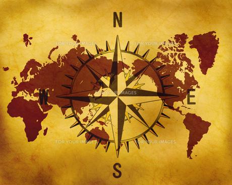 古い世界地図とコンパスの写真素材 [FYI00273723]