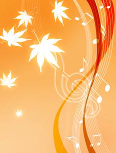 音楽とモミジの写真素材 [FYI00273783]