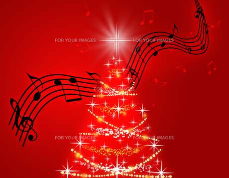 クリスマスツリーと譜面の写真素材 [FYI00274214]
