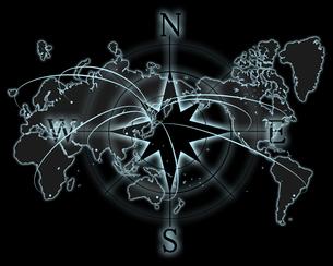 世界地図とコンパスの写真素材 [FYI00274238]