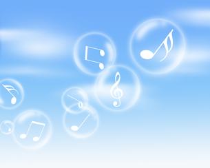シャボン玉と音楽の写真素材 [FYI00274629]