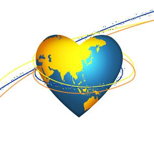 ハートと世界地図の写真素材 [FYI00274692]