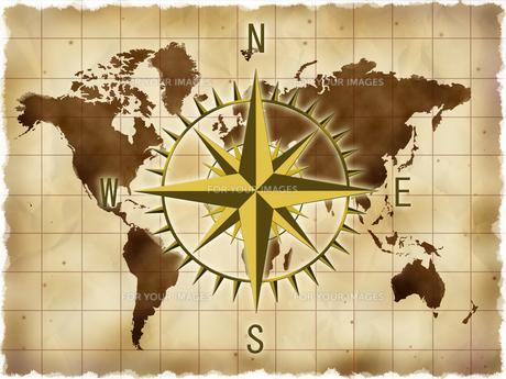 世界地図とコンパスの写真素材 [FYI00274738]