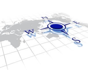 コンパスと世界地図の写真素材 [FYI00274849]