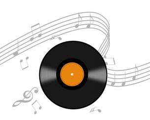 レコード盤と譜面の写真素材 [FYI00274922]