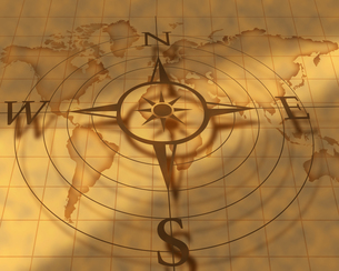 古い世界地図とコンパスの写真素材 [FYI00274928]