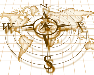 古い世界地図とコンパスの写真素材 [FYI00274939]