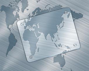 金属板と世界地図の写真素材 [FYI00274949]