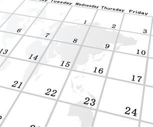 カレンダーと世界地図の素材 [FYI00274965]