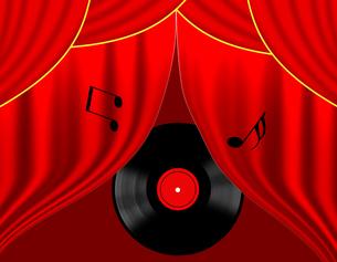 ステージカーテンとレコード盤の写真素材 [FYI00275123]