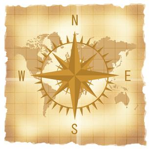 古い世界地図とコンパスの写真素材 [FYI00275573]