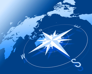 世界地図とコンパスの写真素材 [FYI00275606]