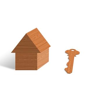 木の家と鍵の写真素材 [FYI00276202]