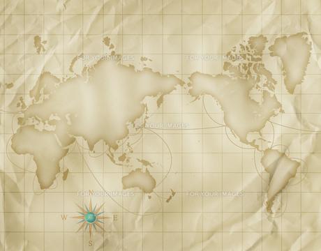 古い世界地図とコンパスの写真素材 [FYI00276224]