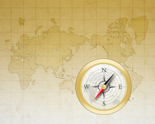 世界地図とコンパスの写真素材 [FYI00276226]