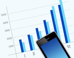 スマートフォンとグラフの写真素材 [FYI00276229]