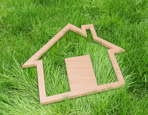 家型パネルと芝生の写真素材 [FYI00276231]