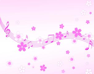 櫻と音楽の写真素材 [FYI00276390]