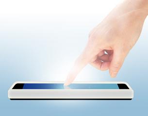 スマートフォンと人差し指の写真素材 [FYI00276544]