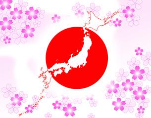 桜と日本と日の丸の写真素材 [FYI00277272]