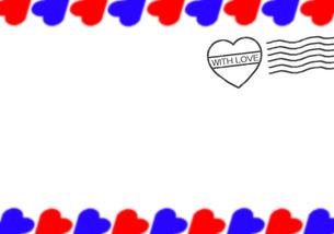 ハートのスタンプ付エアメール風ハートのフレームの写真素材 [FYI00277809]