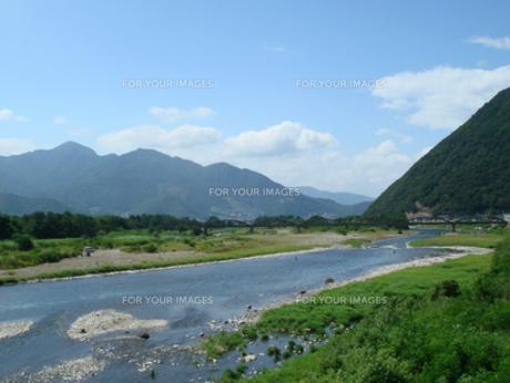 鮎釣りシーズンの千曲川の写真素材 [FYI00277889]