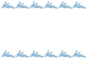 水色のウサギのハガキ用罫の素材 [FYI00277941]