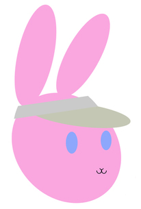 サンバイザーを被ったピンクのバニーの顔の写真素材 [FYI00277966]