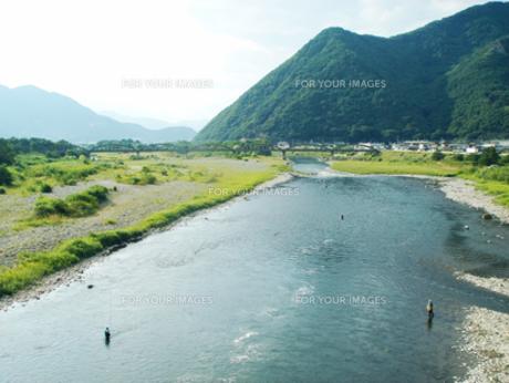 鮎釣りの千曲川の写真素材 [FYI00278330]
