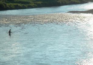 長い竿を持つ釣人のいる千曲川の写真素材 [FYI00278387]