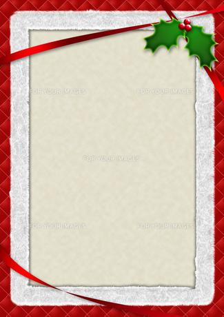 ヒイラギとリボンのクリスマスカードの素材 [FYI00279290]