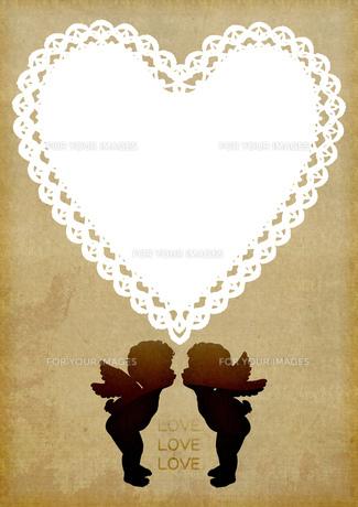ハートと天使の飾り枠の素材 [FYI00279337]