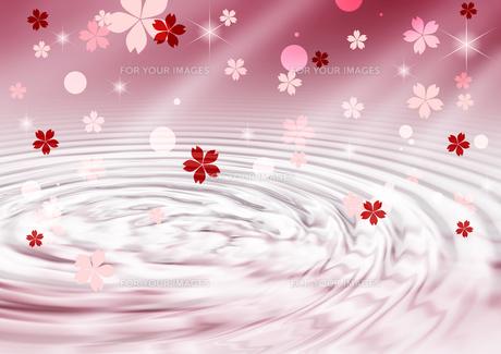 桜と波紋の背景素材の素材 [FYI00279349]