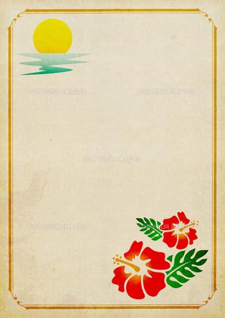 ハワイ風の飾り枠の紙の素材 [FYI00279351]