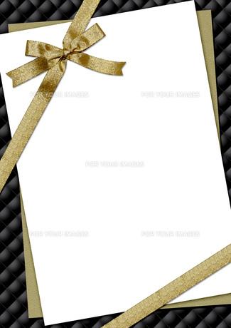 リボンとキルティングのメッセージカードの素材 [FYI00279384]