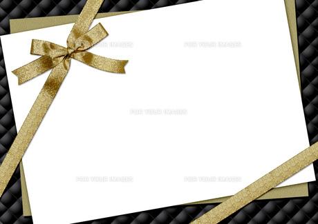 リボンとキルティングのメッセージカードの素材 [FYI00279387]