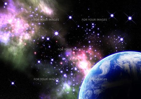 宇宙空間 地球の素材 [FYI00279421]