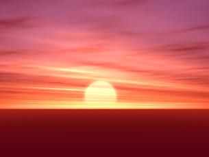 夕焼けと地平線の素材 [FYI00279430]