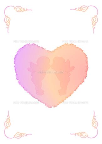 ハートと天使の飾り枠の素材 [FYI00279438]