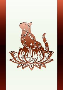 蓮と猫の背景素材の素材 [FYI00279480]