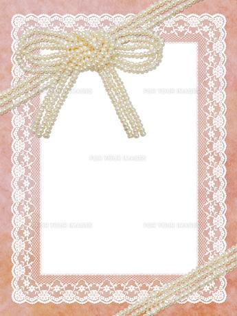 真珠とレースの飾り枠の素材 [FYI00279536]