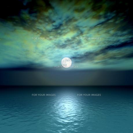 海と満月の素材 [FYI00279565]