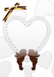 ハートと天使の飾り枠の素材 [FYI00279570]