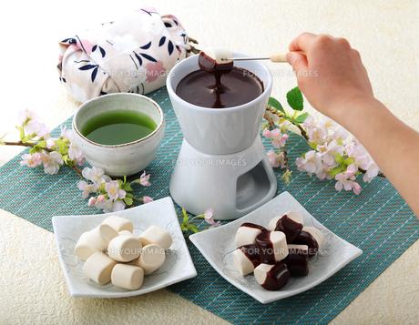 ホワイトデー チョコレートフォンデュ マシュマロの写真素材 [FYI00280125]