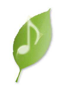 葉の中の音符02の写真素材 [FYI00280151]