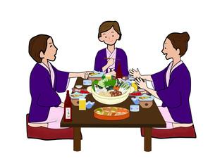 女子会で鍋物の写真素材 [FYI00280400]