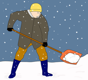 雪かき作業の写真素材 [FYI00280402]